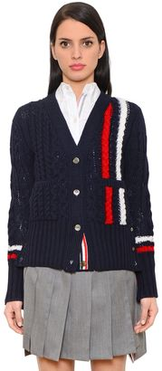 Striped Merino Wool Cable Knit Cardigan $750 thestylecure.com