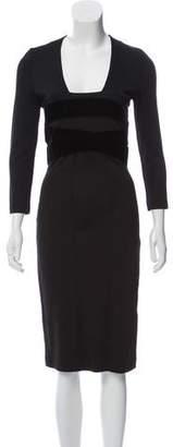 Just Cavalli Velvet-Trimmed Sheath Dress