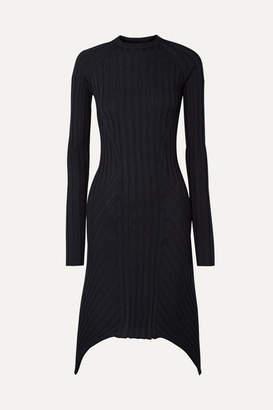 Helmut Lang Asymmetric Ribbed Wool Dress - Midnight blue