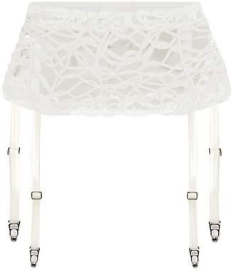 La Perla Desert Rose Off-White Leavers Lace And Soutache Suspender Belt