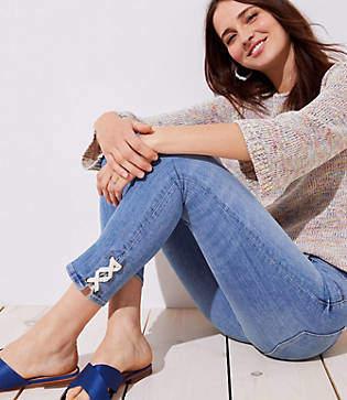 LOFT Modern Lace Up Cuff Skinny Crop Jeans in Pure Light Indigo Wash