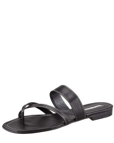 Manolo Blahnik Susa Flat Leather Sandal, Black