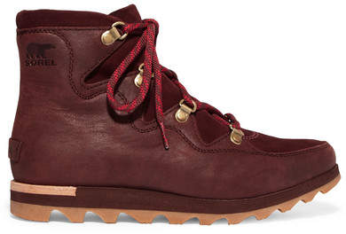 Sorel - Sneakchic Alpine Suede And Leather Ankle Boots - Burgundy