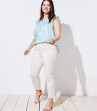 LOFT Plus Floral Embroidered Girlfriend Chinos