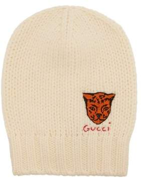Gucci Tiger Embroidered Beanie Hat - Mens - Beige
