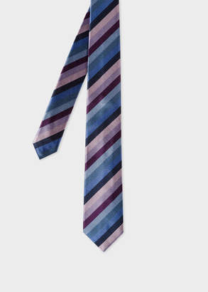 Paul Smith Men's Purple Multi-Coloured Diagonal Stripe Narrow Silk Tie
