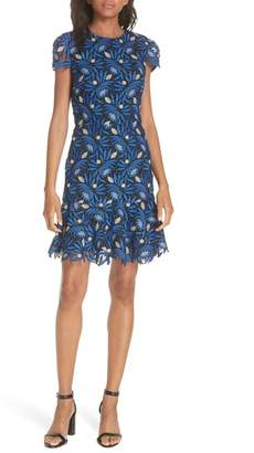 Alice + Olivia Imani Embroidered Cap Sleeve Fit & Flare Dress
