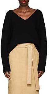 Altuzarra Women's Baez Cashmere Ruched V-Neck Sweater-Black