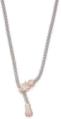 Made In Italy Two Tone Sterling Silver Cz Panther Necklace
