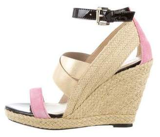Just Cavalli Suede-Trimmed Espadrille Wedges w/ Tags