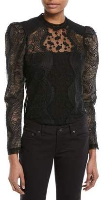 Self-Portrait Scalloped Floral Lace Puff-Sleeve Top
