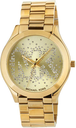 MICHAEL Michael Kors 39mm Slim Runway Crystal Bracelet Watch, Gold