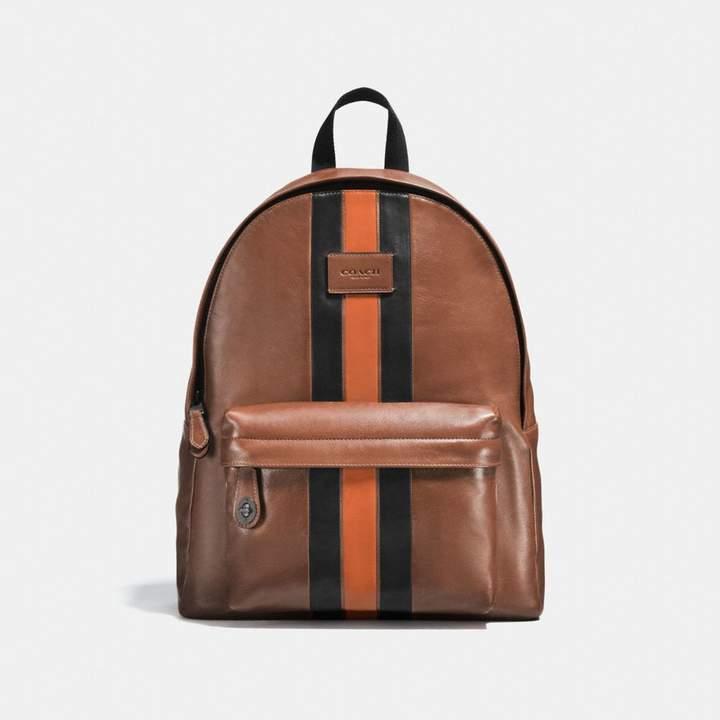 Coach Campus Backpack With Varsity Stripe - DARK SADDLE/BLACK/BLACK ANTIQUE NICKEL - STYLE