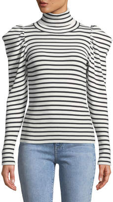 A.L.C. Baker Striped Puff-Sleeve Turtleneck Sweater