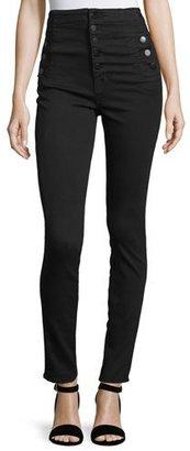 J Brand Natasha High-Waist Skinny Jeans, Black $248 thestylecure.com