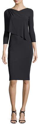 Chiara Boni Nubia High-Neck 3/4 Sleeves Fitted Sheath Dress