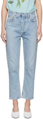 A Gold E Agolde Blue Riley Hi Rise Straight Crop Jeans