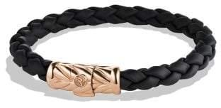 David Yurman Chevron Rubber Weave Bracelet In Black With 18K Rose