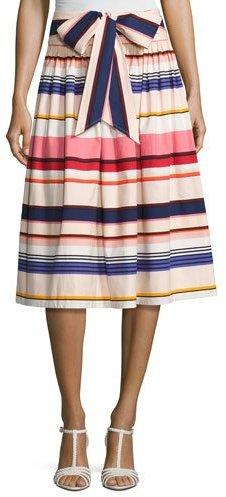 Kate Spade New York Berber Striped Stretch Poplin Midi Skirt, Multicolor