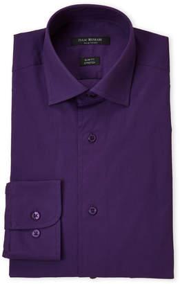 Isaac Mizrahi Eggplant Stretch Slim Fit Dress Shirt