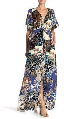 Hale Bob Patterned V-Neck Maxi Dress
