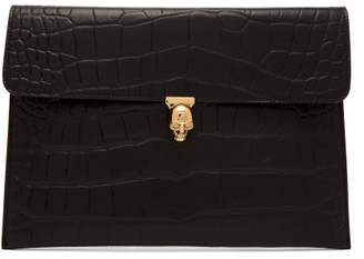 Alexander Mcqueen - Crocodile Effect Envelope Clutch - Womens - Black