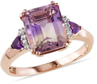 Generic 3-1/2 Carat T.G.W. Ametrine and Amethyst with Diamond-Accent Rose Rhodium-Plated Sterling Silver Three-Stone Cocktail Ring