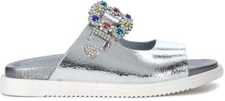 Tipe E Tacchi Silver Leather Sandal With Jewel Buckle