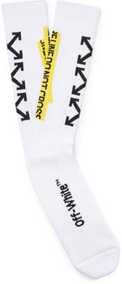 Off-White Stretch Cotton-Blend Jacquard Socks