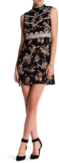 Anna SuiAnna Sui Wildflower Print Crepe De Chine High Neck Silk Dress