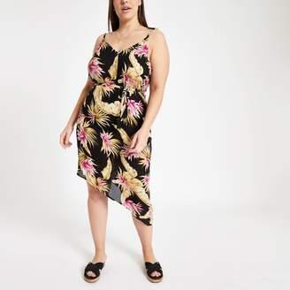 River Island Womens Plus Black floral print beach dress