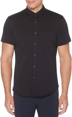 Perry Ellis Solid Knit Oxford Short Sleeve Button-Down Shirt