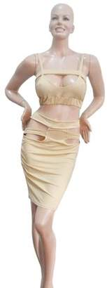 Sunrain Hot Women Slim Fit Fashion Bodycon Party Backless Dress Evening Bandage Dress Apricot S