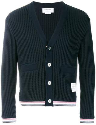 Thom Browne Oxford Stripe Chunky Waffle Knit V-Neck Cardigan