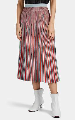 Proenza Schouler Women's Pleated Striped Jacquard Midi-Skirt - Blue Pat.