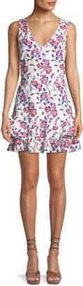 Tanya Taylor Tatum Ditsy Floral-Print V-Neck Sleeveless Cotton Eyelet Dress
