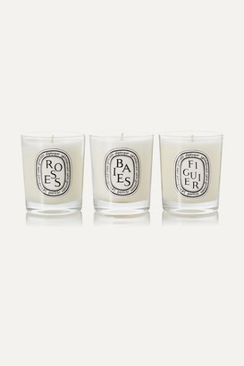 Diptyque Baies, Roses And Figuier Set Of Three Candles, 3 X 70g - Colorless