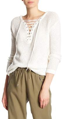 Dex Lace-Up V-Neck Long Sleeve Sweater
