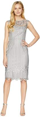 Adrianna Papell Stretch Bead Cocktail Dress with Embroidered Detail Women's Dress