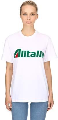 Alberta Ferretti Alitalia Patches Cotton Jersey T-Shirt