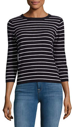 Vince Striped Back Tie Cashmere Top