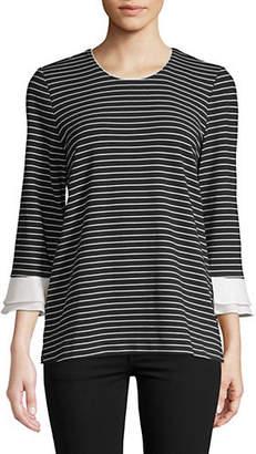 Karl Lagerfeld PARIS Stripe Bell-Sleeve Top