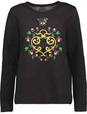 Mother of Pearl Edith Embellished Embroidered Cotton And Modal-Blend Sweatshirt