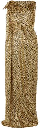Roland Mouret Silvabella Asymmetric Metallic Fil Coupé Chiffon Gown - Gold