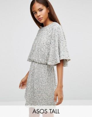 ASOS Tall ASOS TALL Sequin Kimono Mini Dress $83 thestylecure.com