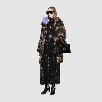 Gucci Padded cape coat with flowers and tassels