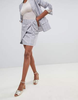 Oasis bow detail wrap over a-line mini skirt in gray check