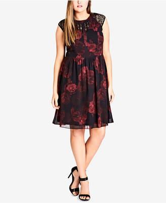 City Chic Trendy Plus Size Printed Lace-Trim Dress