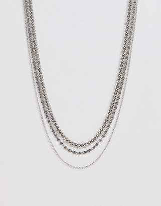Asos Design DESIGN chain pack in burnished silver tone