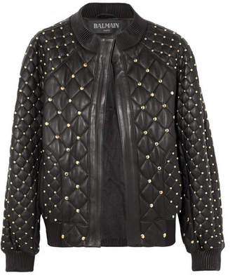 Balmain - Studded Quilted Leather Bomber Jacket - Black $4,920 thestylecure.com
